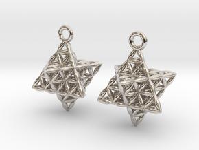 Flower Of Life Star Tetrahedron Earrings in Platinum