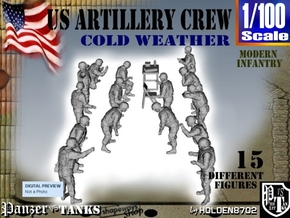 1-100 US Artillery Crew Cold Weather in Smooth Fine Detail Plastic