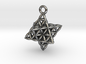"""Flower Of Life Star Tetrahedron Pendant .8"""" in Polished Silver"""