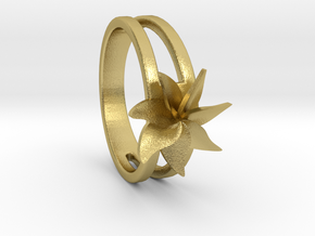 Flower Ring Size 5.5 in Natural Brass