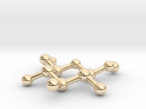 Methyl beta-D-glucopyranoside Molecule Necklace in 14k Gold Plated Brass