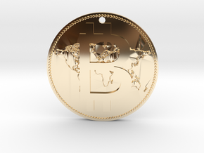 World Bitcoin Medal in 14K Yellow Gold