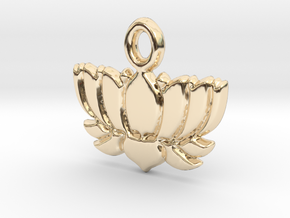 Lotus Flower Yoga Pendant in 14k Gold Plated Brass