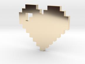 8 bit Pixel heart in 14k Gold Plated Brass: Small
