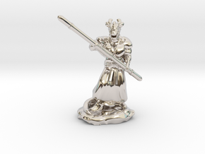 Muscular Dragonborn Monk with Quarterstaff  in Rhodium Plated Brass