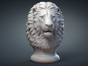 Lion Head, statuette. 10 cm in White Natural Versatile Plastic