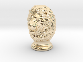 Lion Head, statuette. 10 cm in 14K Yellow Gold
