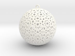 Christmas Tree Ball 58mm in White Processed Versatile Plastic