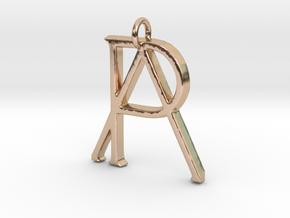 Monogram Initials PA Pendant  in 14k Rose Gold