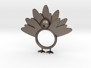 Thanksgiving Napkin Ring in Polished Bronzed Silver Steel