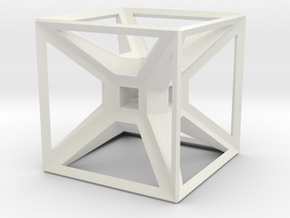 Tesseract Desk Sculpture in White Natural Versatile Plastic