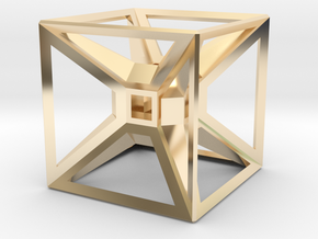Tesseract Desk Sculpture in 14K Yellow Gold