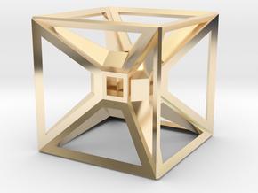 Tesseract Desk Sculpture in 14k Gold Plated Brass