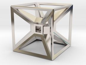 Tesseract Desk Sculpture in Rhodium Plated Brass