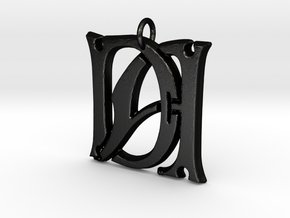 Monogram Initials DA Pendant  in Matte Black Steel