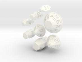 Jewel Dice Set in White Strong & Flexible Polished