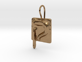 19 Qof Earring in Natural Brass