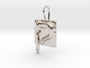 19 Qof Earring in Rhodium Plated Brass