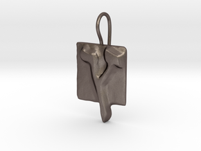 27 Tzadi-sofit Earring in Polished Bronzed Silver Steel
