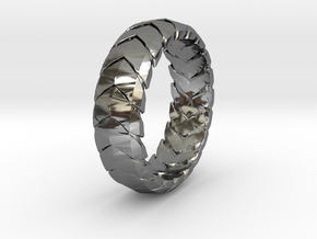 V RING 7  in Fine Detail Polished Silver: 9.5 / 60.25