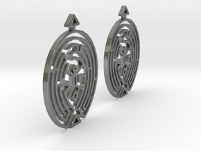 Earring Model F Pair in Natural Silver