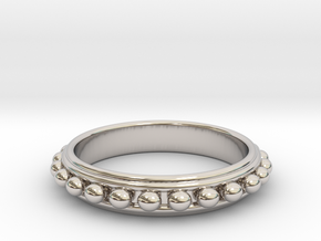 Granulated Ball Ring Size 8 in Platinum