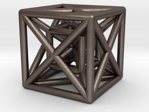 Hypercube Pendant in Polished Bronzed Silver Steel