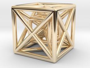 Hypercube Pendant in 14K Yellow Gold