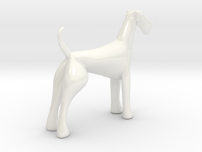 Porcelain Airedale Terrier  in Gloss White Porcelain