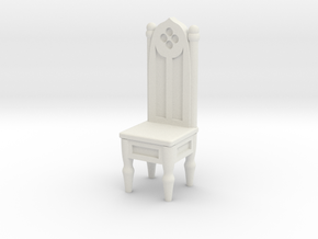 Gothic Straight Backed Chair  in White Strong & Flexible