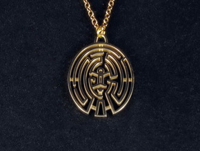 WestWorld Maze Pendant in Polished Brass