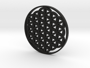 Large Flower Of Life Pendant in Black Natural Versatile Plastic