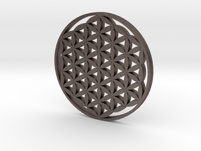 Large Flower Of Life Pendant in Polished Bronzed Silver Steel