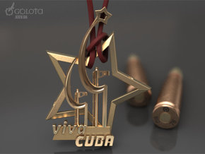 Viva Cuba Pendant Pin badge in Polished Gold Steel: Small