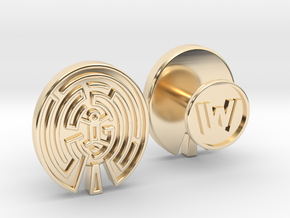 WestWorld Maze Cufflinks in 14K Yellow Gold