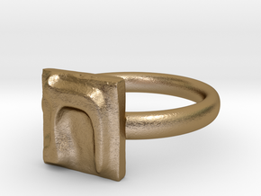 22 Tav Ring in Polished Gold Steel: 7 / 54