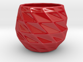 Candle Holder Q3 in Gloss Red Porcelain