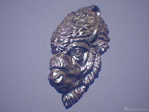 Bison Head Pendant. 40mm in Polished Silver