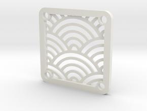 "40mm Fan Guard, ""Seigaiha"" in White Natural Versatile Plastic"