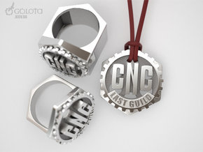 CNC Guild Pendant and pin badge in Raw Silver
