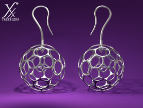 Fertilized Polyhedron Egg Earring in Polished Bronzed Silver Steel