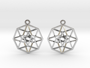 """Tesseract Earrings 1"""" in Natural Silver"""