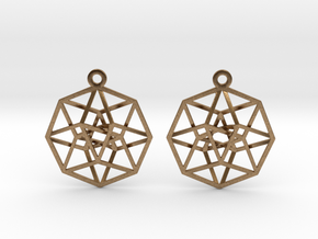 Tesseract Earrings in Natural Brass