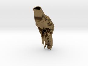Bear Skull whistle. 7cm in Natural Bronze: Medium