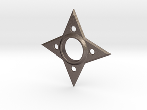 Hand Spinner Throwing Star in Polished Bronzed Silver Steel