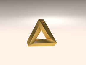 Penrose Triangle - Pendant (3.5cm | 3mm hole) in Matte Gold Steel