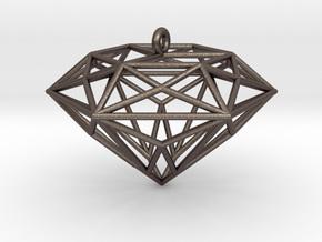 Diamond Ornament in Polished Bronzed Silver Steel