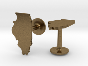 Illinois State Cufflinks in Natural Bronze