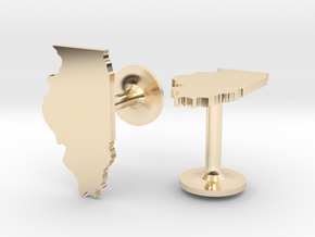 Illinois State Cufflinks in 14k Gold Plated Brass