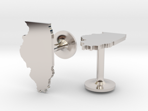 Illinois State Cufflinks in Rhodium Plated Brass
